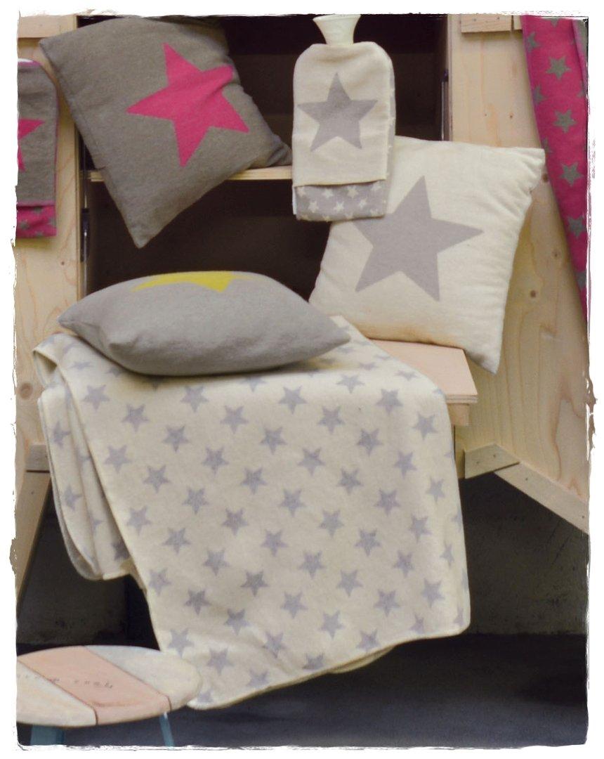 sterne grau silvretta baumwoll flanell decke 140x200cm df. Black Bedroom Furniture Sets. Home Design Ideas