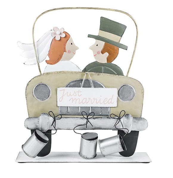 Brautpaar Hochzeitspaar Aufsteller Auto 23x26cm Baden Import
