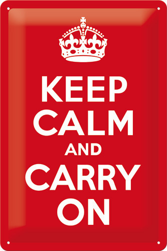 Blechschild KEEP CALM AND CARRY ON 20x30cm