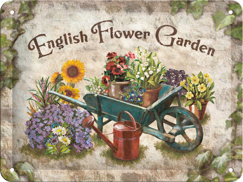 Blechschild ENGLISH FLOWER GARDEN  15x20cm