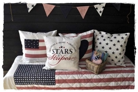 STARS & STRIPES creme Tagesdecke, Quilt 140x200cm by Artefina
