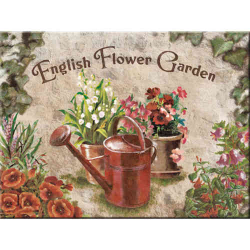 Magnet ENGLISH FLOWER GARDEN Red Can 8x6cm