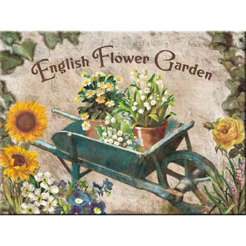 Magnet ENGLISH FLOWER GARDEN Blue Barrow 8x6cm