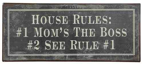 Vintage Metallschild HOUSE RULES 30cm