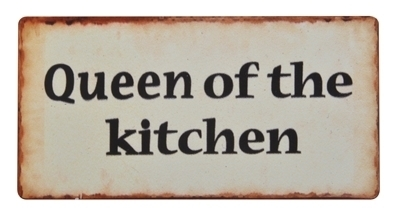 Magnet - Metallschild QUEEN OF THE KITCHEN 10x5cm