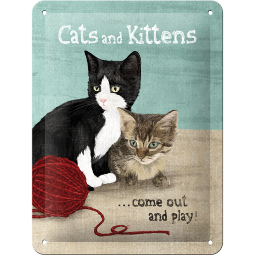 Blechschild CATS AND KITTENS 15x20cm