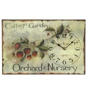 Nostalgische Wanduhr / Brief COTTAGE GARDEN