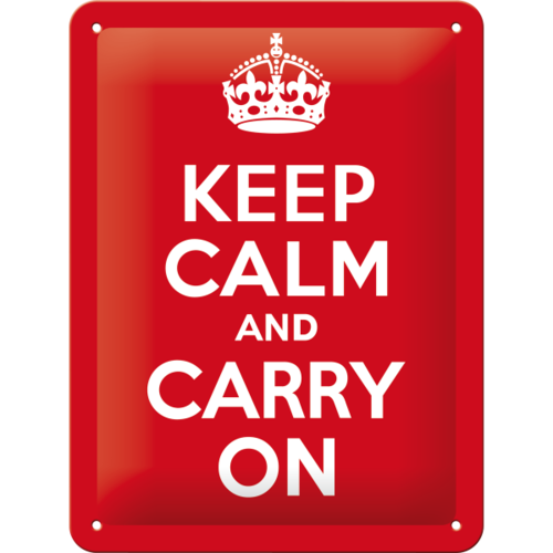 Blechschild KEEP CALM AND CARRY ON 15x20cm