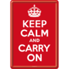 Blechpostkarte mit Umschlag KEEP CALM AND CARRY ON 10x14cm
