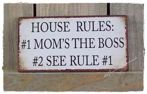 Magnet - Metallschild HOUSE RULES 10x5cm