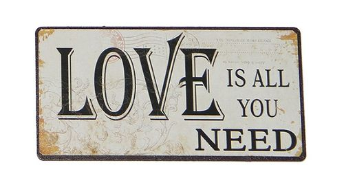 Magnet - Metallschild LOVE IS ALL YOU NEED 10x5cm