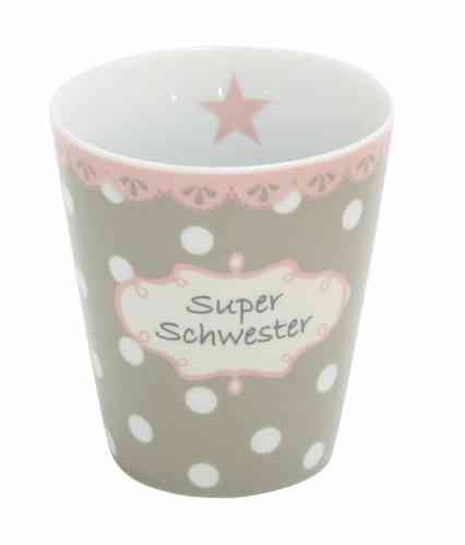 HAPPY MUG Becher SUPER SCHWESTER H23 by Krasilnikoff