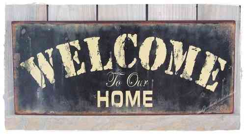 Vintage Metallschild WELCOME to our HOME 30cm