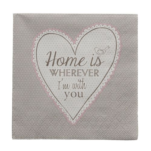 HOME IS .....  20 Papierservietten Clayre & Eef
