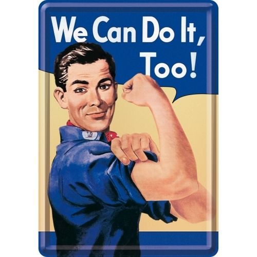 Blechpostkarte mit Umschlag WE CAN DO IT, TOO  10x14cm