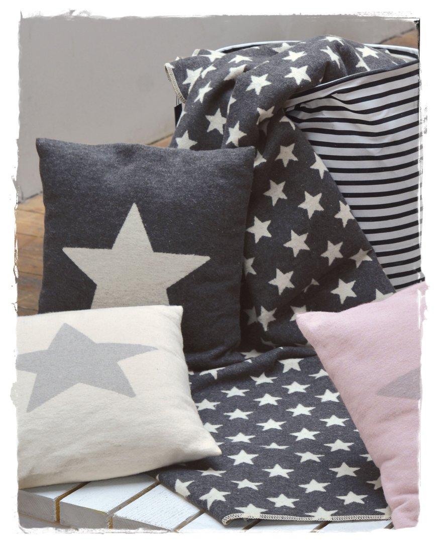 Decke Sterne sterne anthrazit silvretta baumwoll flanell decke 140x200cm df