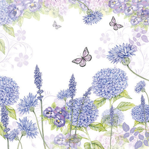 20 Papierservietten, Servietten PURPLE WILDFLOWERS Ambiente