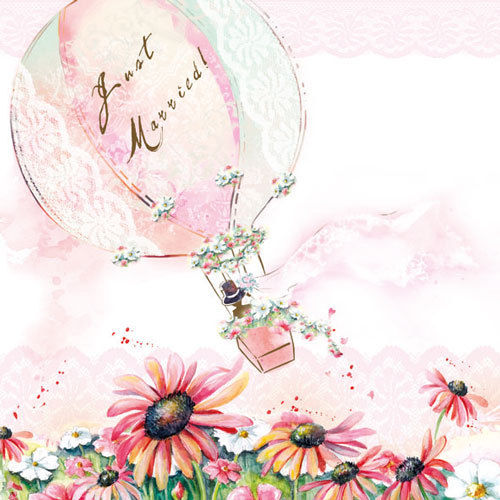 20 Papierservietten, Servietten JUST MARRIED BALLON Ambiente