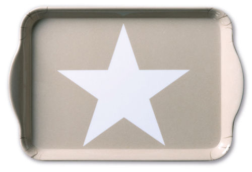 Tablett, Tray STAR sand 13x21cm Ambiente