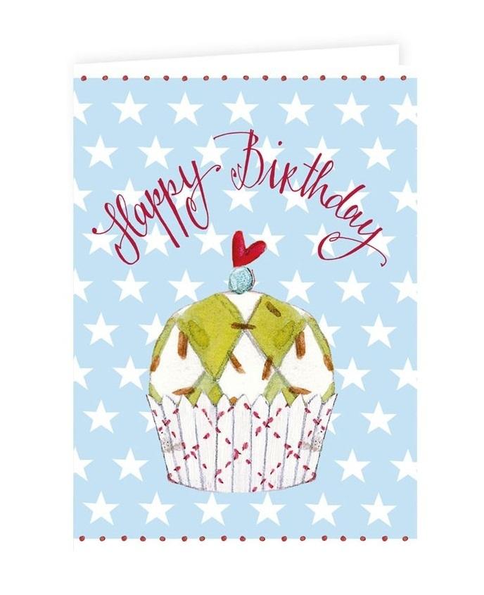 Klappkarte mit Muffin HAPPY BIRTHDAYGlückwunschkarte Doppelkarte
