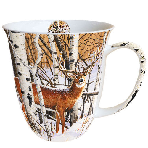Tasse, Porzellantasse DEER IN FOREST 0,4l Ambiente