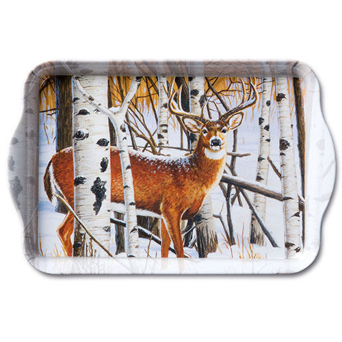 Tablett, Tray DEER IN FOREST 13x21cm  Ambiente