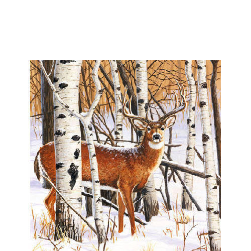 20 Papierservietten, Cocktail - Servietten DEER IN FOREST Ambiente