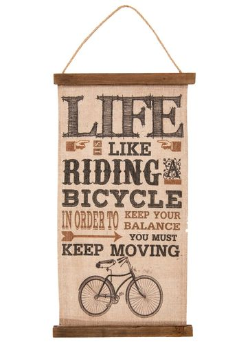 Wandkarte LIFE IS LIKE RIDING A BICYCLE 49cm Clayre & Eef
