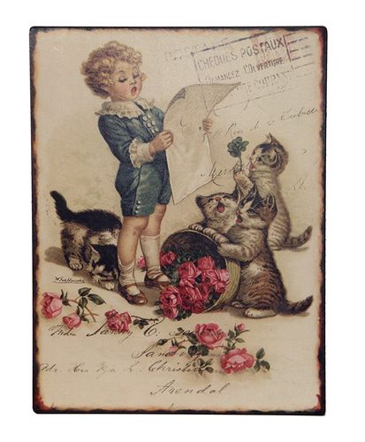 Blechschild CHILD WITH CATS 33x25cm *168  Clayre & Eef