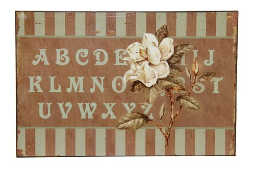 Blechschild ABC * WHITE ROSE 30X20cm  Clayre & Eef