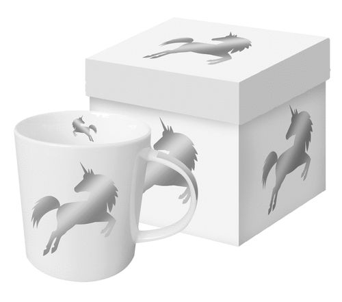 Henkelbecher, Tasse SIVER UNICORN 0,35l in Geschenkbox