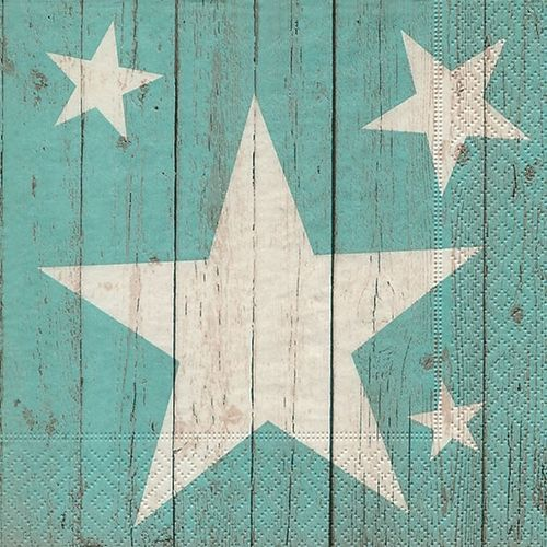 20 Papierservietten, Servietten STARS ON PLANKS grün Paper+Design