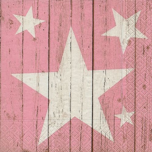 20 Papierservietten, Servietten STARS ON PLANKS rosa Paper+Design