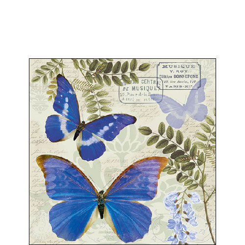 20 Papierservietten, Cocktail - Servietten BLUE MORPHO Ambiente