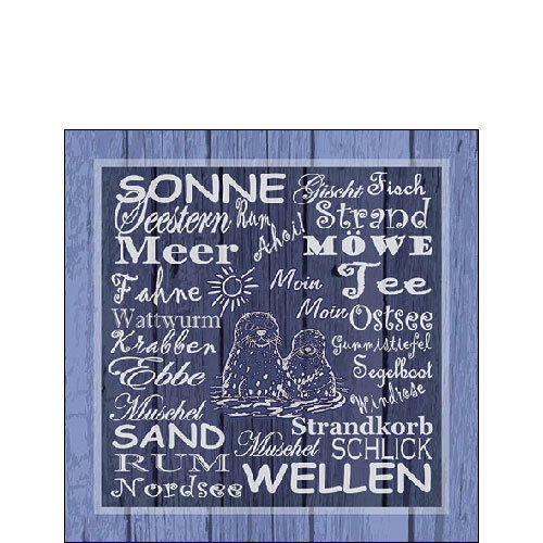 20 Papierservietten, Cocktail - Servietten BEACH TERMS Ambiente