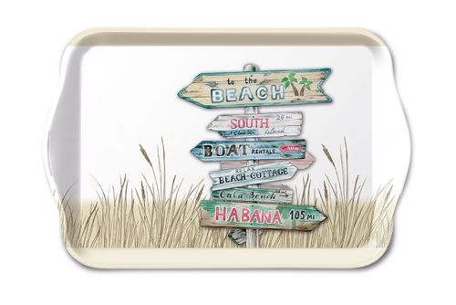Tablett, Tray ROAD SIGNS sand 13x21cm  Ambiente