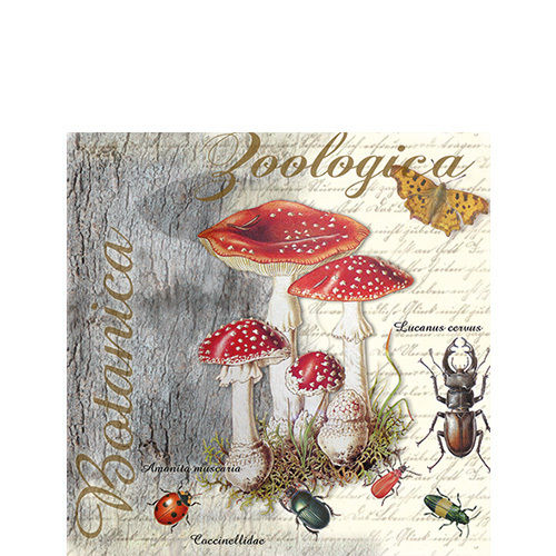 20 Papierservietten, Cocktail - Servietten FLY AGARIC AND BEETLE