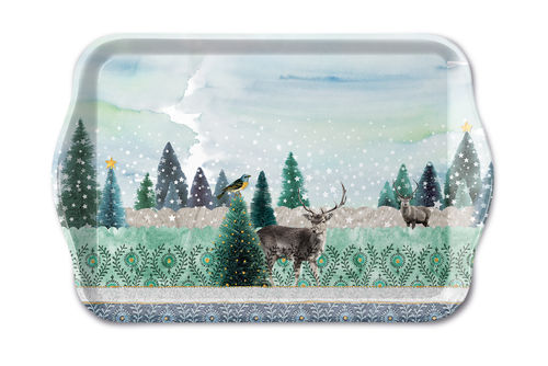 Tablett, Tray DEER  WINTERSCENE 13x21cm  Ambiente