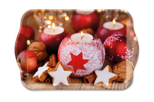 Tablett, Tray STAR ON CANDLE 13x21cm  Ambiente