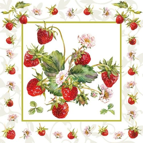 20 Papierservietten, Servietten FRESH STRAWBERRIES  Ambiente