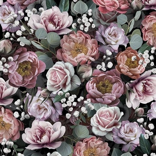 5 Servietten Rosen ANTIQUE FLORAL Serviettentechnik prächtig Weintrauben Blumen