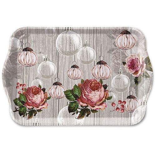 Tablett, Tray ROSES AND BAUBLES 13x21cm  Ambiente