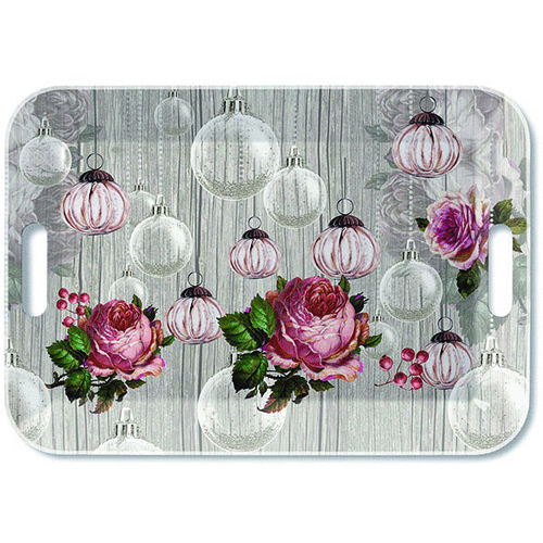Tablett, Tray ROSES AND BAUBLES 33x47cm Ambiente