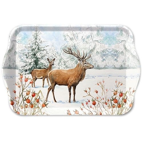 Tablett, Tray DEER IN SNOW 13x21cm  Ambiente