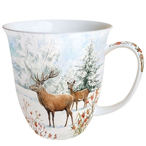 Tasse, Porzellantasse DEER IN SNOW 0,4l Ambiente