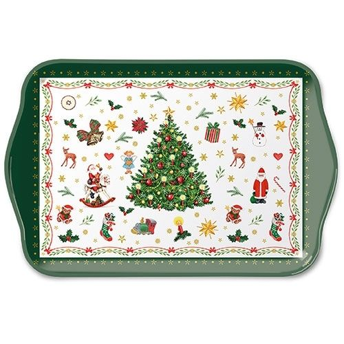Tablett, Tray CHRISTMAS evergreen 13x21cm  Ambiente
