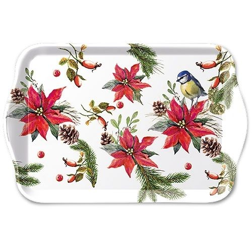 Tablett, Tray BIRD ON POINSETTIA 13x21cm  Ambiente