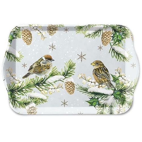 Tablett, Tray SPARROWS IN SNOW 13x21cm  Ambiente