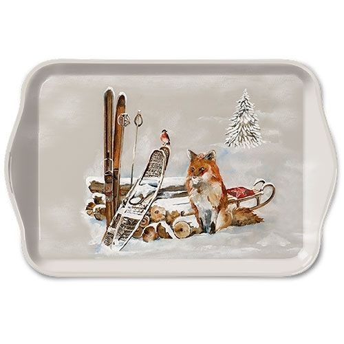 Tablett, Tray FOX AND BIRD 13x21cm  Ambiente